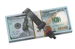 Safety money concept, dollars with safety belt Royalty Free Stock Image