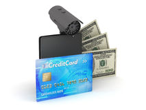 Safety money - credit card, bills, wallet and monitoring camera Stock Image