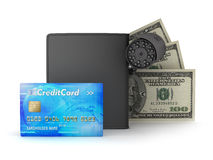 Safety money - credit card, bills, wallet and monitoring camera Stock Photos