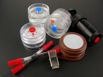 Safety Monitoring Equipment. Cassettes, badges and tubes for conducting safety and Industrial Hygiene monitoring for hazardous chemicals and particulates Royalty Free Stock Photo