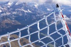 Safety net. On top of Marmolada mountain - the highest peak of the Dolomite Alps Stock Photo