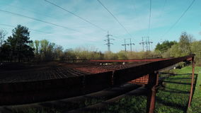 Safety net under power lines stock video