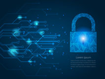 Safety network security concept-2. Safety network security concept, Blue abstract internet technology background, Closed Padlock on digital. Vector illustration vector illustration