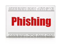 Safety news concept: newspaper headline Phishing. On White background, 3d render Royalty Free Stock Photo