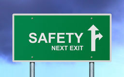 Safety next exit road sign. Royalty Free Stock Images