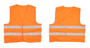 Safety orange vest. Front and back view. Isolated on a white background royalty free stock image