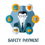 Safety Payment flat concept Stock Photography