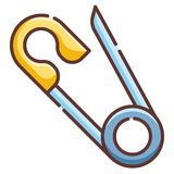 Safety Pin LineColor illustration royalty free illustration