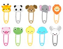 Safety pins. Cute animal safety pin collection with colorful animal heads Royalty Free Stock Photos