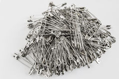 Safety pins pile closeup Royalty Free Stock Images