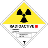 Safety placard - warning sign radioactive. Safety placard - warning sign for radioactive substances (class 7) and materials. One of the official signs for Royalty Free Stock Images