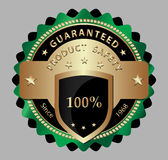 Safety product guarantee label. Design of golden safety guaranteed label/sticker Stock Image
