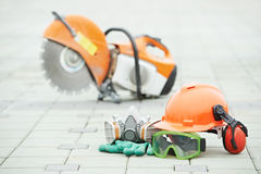 Safety protective equipment and disc cutter Stock Photo
