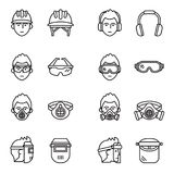 Safety, Protective Equipment icon set. Royalty Free Stock Photography