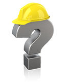 Safety questions. 3d generated picture of a question mark with a safecy helmet vector illustration