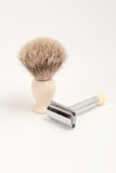 Safety Razor and Badger Brush Stock Image