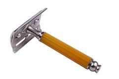 Safety razor. Close-up. Isolated on white background royalty free stock photos