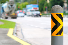 Safety road barrier by roadside Royalty Free Stock Photos