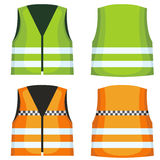Safety road vest, waistcoat with reflective stripes vector set royalty free illustration