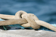 Safety rope of a boat Stock Images