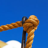 safety rope and metal in the blue skay aocean mediterranean sea Stock Images