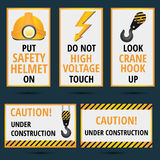 Safety rules theme posters and banners in yellow black and orang. E colors Royalty Free Stock Image