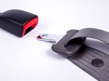 Safety Seat belt. Opened seat belt. All on white background Royalty Free Stock Photography