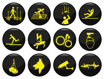 Safety and security. Black icon set individually layered Vector Illustration