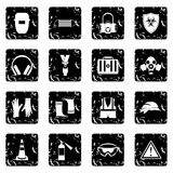 Safety set icons, grunge style. Safety set icons in grunge style isolated on white background. Vector illustration Stock Images