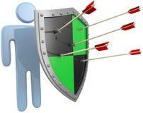 Safety shield protect person risk danger. Safe security shield protection for a person from risk danger threat vector illustration