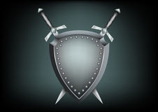 Safety shield and swords Stock Photography