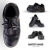 Safety shoe black work boots on white background . royalty free stock images
