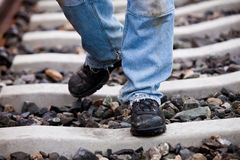 Safety shoes on the splints Stock Image