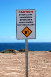 Safety sign. Nearby cliffs, Australia Royalty Free Stock Photography