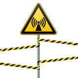 Safety sign. Caution - danger Electromagnetic field. Barrier tape. Vector illustrations. Safety sign. Caution - danger Electromagnetic field. Barrier tape Royalty Free Stock Photography