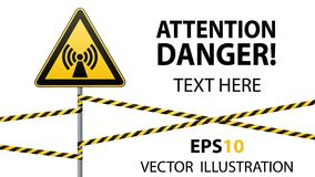 Safety sign. Caution - danger Electromagnetic field. Barrier tape. Vector illustrations. Safety sign. Caution - danger Electromagnetic field. Barrier tape Stock Image