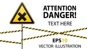 Safety sign. Caution - danger Harmful to health allergic irritant substances. Barrier tape. Vector illustrations. Safety sign. Caution - danger Harmful to health Royalty Free Stock Image