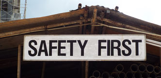 Safety sign on construction site Royalty Free Stock Photo