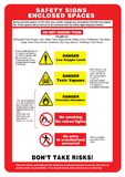 Safety sign enclosed spaces.  royalty free illustration