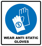 Safety sign, Hand protection must be worn. Wear anti static gloves symbol in blue circle. Safety sign, Hand protection must be worn. Information, mandatory vector illustration