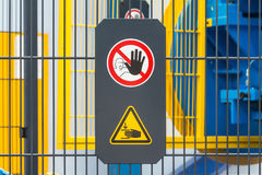 Safety sign on machine Royalty Free Stock Images