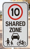 Safety sign for shared zone Royalty Free Stock Photo
