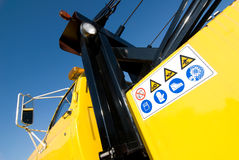 Safety signal. On yellow vehicle of road assistance stock image