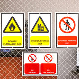 Safety signs board in factory. A safety signs board in factory Royalty Free Stock Photography