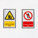 Safety signs broad on white background Stock Images