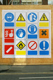 Safety signs. Construction site health and safety signs and symbols Royalty Free Stock Image