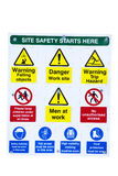 Safety signs. Health and safety signs on building site Royalty Free Stock Images