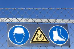 Safety signs on an industrial site Stock Photo