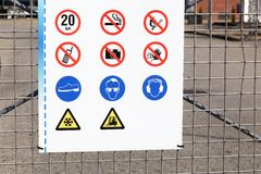 Safety signs on an industrial site. Safety signs at the entrance of an industrial site Stock Image
