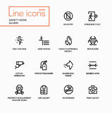 Safety Signs - modern vector single line icons set Stock Images
